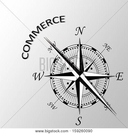 Illustration of Commerce word written aside compass