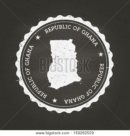 White Chalk Texture Rubber Stamp With Republic Of Ghana Map On A School Blackboard. Grunge Rubber Se