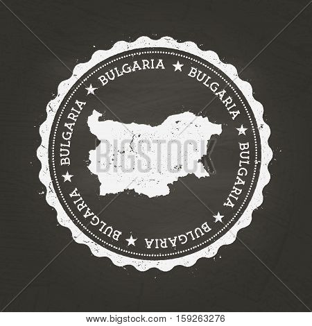 White Chalk Texture Rubber Stamp With Republic Of Bulgaria Map On A School Blackboard. Grunge Rubber