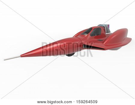 3d illustration of sci-fi concept car. white background isolated. icon for game web.