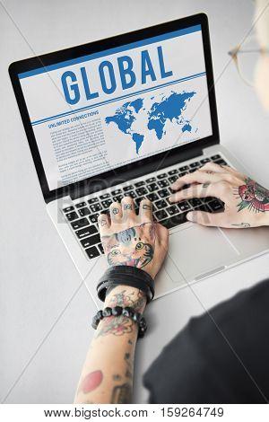 Global Worldwide Map Marketing Concept
