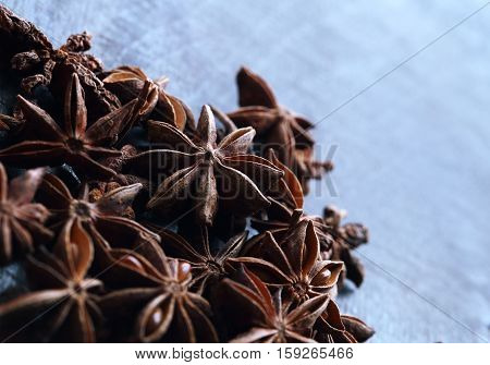 Star Anise Seeds On Blue Background