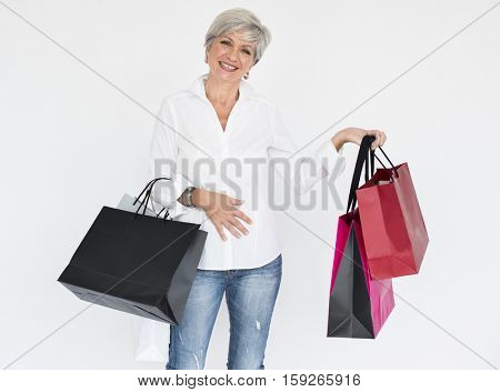 Woman Smiling Happiness Shopaholic Portrait Concept