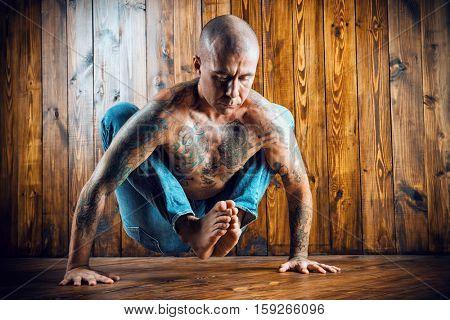 Yoga. Yoga master practicing yoga. Meditation, concentration.