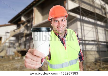 Work Break Concept With Constructor And Coffee Cup