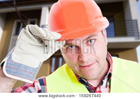 Closeup Of Handsome Constructor Or Employee