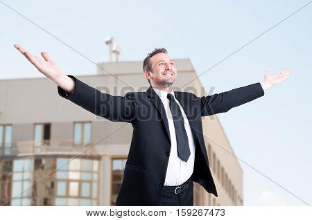 Professional Estate Consultant Enjoying His Triumph
