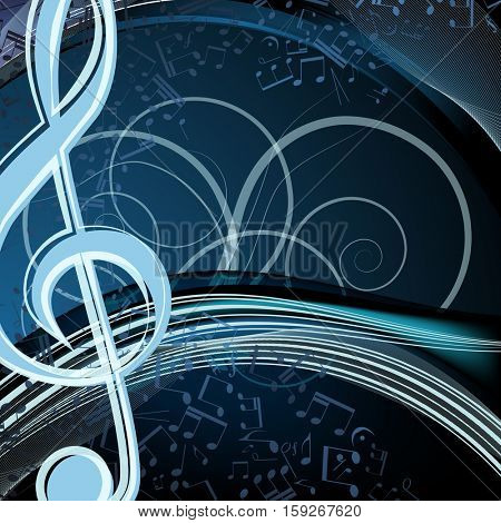 Music floral background: melody, notes, key, swirly.