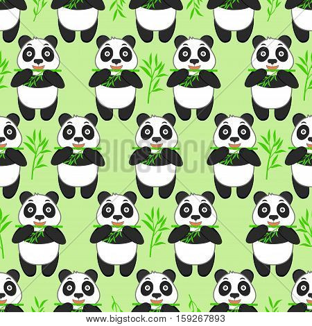 Seamless pattern with cute panda and bamboo on a green background. Funny animal.