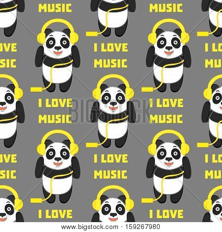 I love music. Seamless pattern with funny panda with headphones on a grey background.