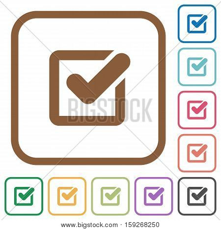 Checkbox simple icons in color rounded square frames on white background