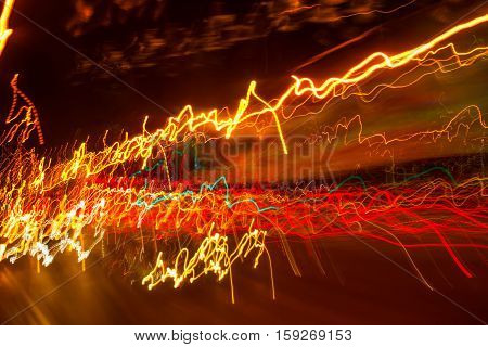 Traffic light paint with long exposure colorful abstract motion blur background