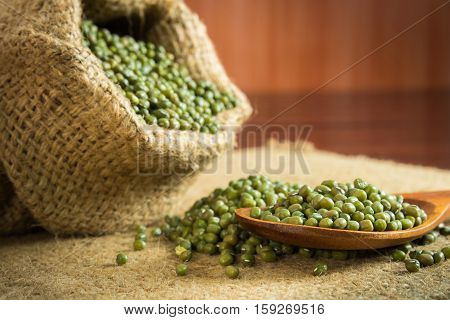Close up Mung beans in a sack