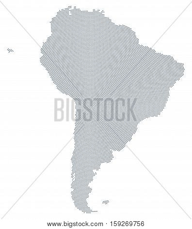 South America map radial dot pattern. Gray dots going from the center forming the silhouettes of the continent including the Falkland and Galapagos Islands. Illustration on white background. Vector.