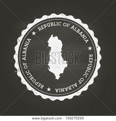 White Chalk Texture Rubber Stamp With Republic Of Albania Map On A School Blackboard. Grunge Rubber