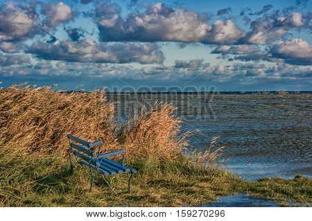 A lonely bank on the coastline of the east sea