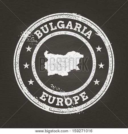 White Chalk Texture Grunge Stamp With Republic Of Bulgaria Map On A School Blackboard. Grunge Rubber