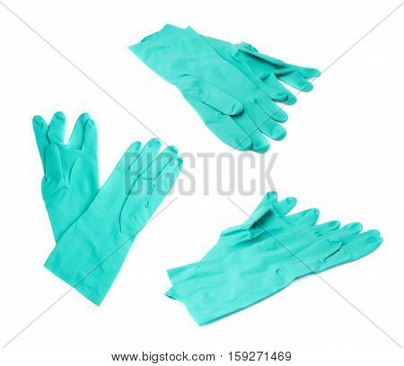 Pair of Rubber kitchen latex green glove over white isolated background