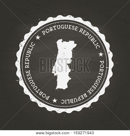 White Chalk Texture Rubber Stamp With Portuguese Republic Map On A School Blackboard. Grunge Rubber