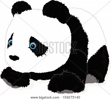 cute panda toy vector isolated on white.
