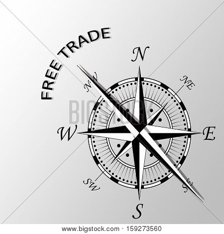 Illustration of free trade written aside compass