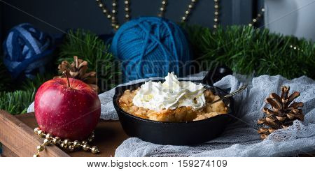 Apple Crumble With Cream As Christmas Dessert. Banner