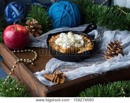 Apple Crumble With Cream As Christmas Dessert
