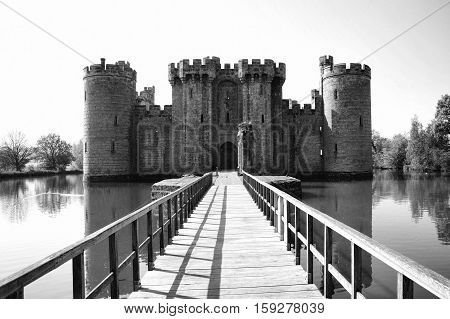 Bodiam, UK, April, 23 2011: Black and white image of Bodiam Castle which is a 14th century ruin and a popular visitors attraction