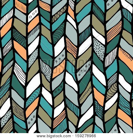 Tribal style braided seamless pattern ethnic chevron multicolor. Braid lines.