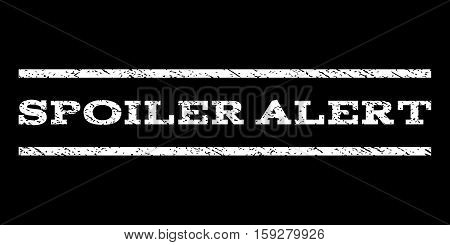 Spoiler Alert watermark stamp. Text caption between horizontal parallel lines with grunge design style. Rubber seal white stamp with scratched texture. Vector ink imprint on a black background.