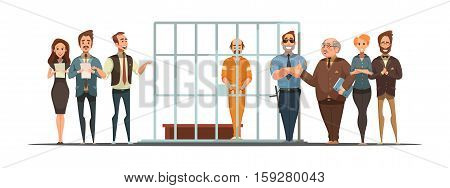 Law and justice retro cartoon poster with sentence announcement and convict behind bars white background vector illustration