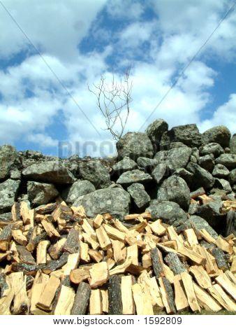 Brennholz, Steine, Himmel und Wolken