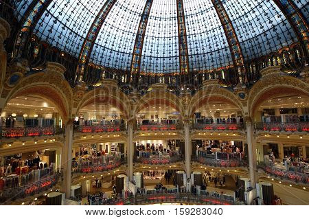 Paris, France, May 09: Paris, France, May 09, 2012. Ceiling Of The Lafayette Luxury Shopping Mall In