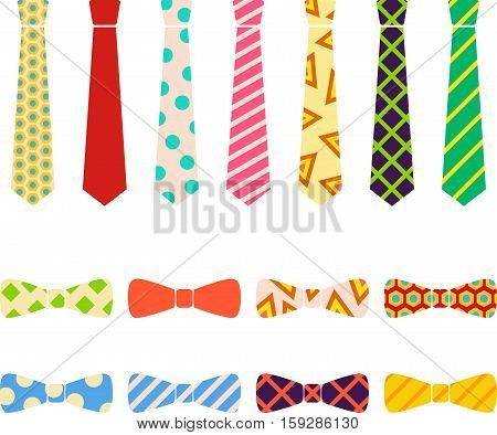 Ties and bow ties set in cartoon style.