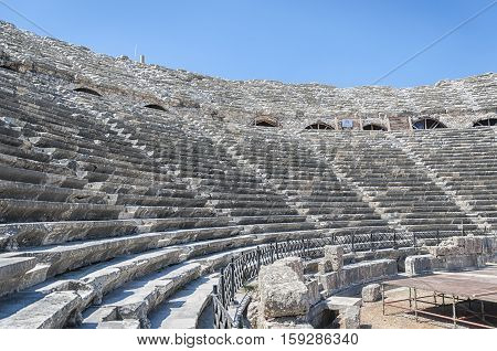 The ancient Roman amphitheatre situated in the turkish town of Side.