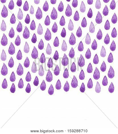 Watercolor rainy pattern. Charity Water poster. Watercolor hand painted social drawing. Raindrop seamless background. Wallpaper creative watercolor fabric blue wrapping with water drops ornaments - template for design.