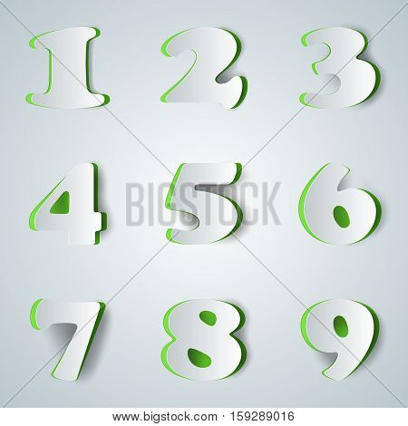 Number icon with shadow on the grey background.