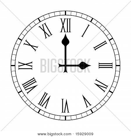 Plain Roman Numeral Clock Face