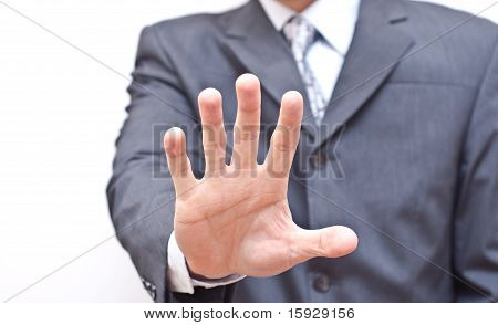 Businessman Expressing Refusal With Open Hand
