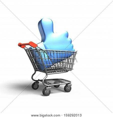 Thumb Up In Shopping Cart, 3D Rendering