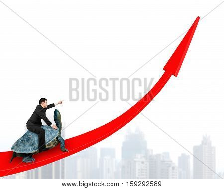 Businessman Riding Turtle On Red Arrow Up
