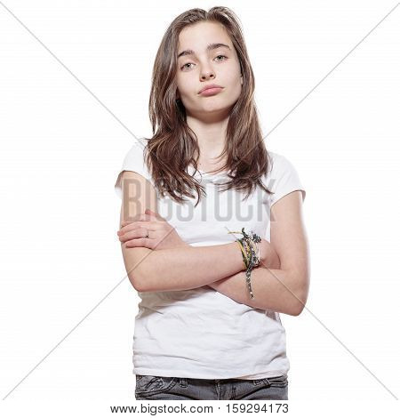 portrait of a sulky teenage girl, isolated on white