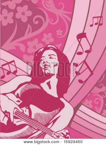 Exclusive Series of Musician Backgrounds in Floral Style. Check my portfolio for much more of this series as well as thousands of similar and other great vector items.