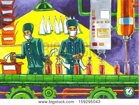 colored illustration on drug manufacturing factory assembly line with workers