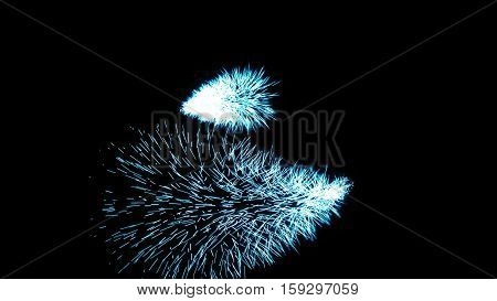 Particle Ring. Energy background. Blue particles with black background