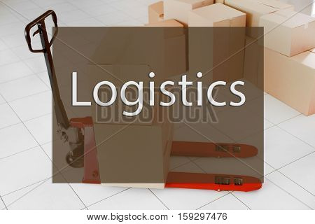 Word LOGISTICS on background. Hand palette truck with cardboard boxes at storehouse. Wholesale and logistics concept.