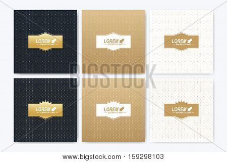 Modern vector template for square brochure, Leaflet, flyer, cover, booklet, magazine or annual report. Abstract golden presentation book layout. Geometric pattern with connected lines and dots