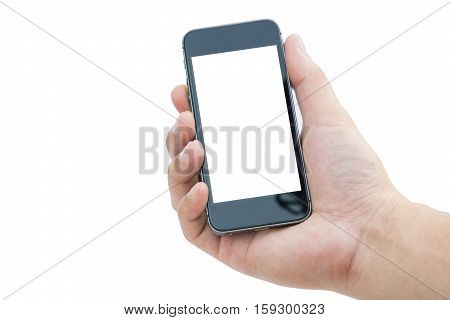 Man hand with mobile phone on white background