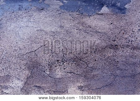 Grungy Blue Color Cement Wall Surface