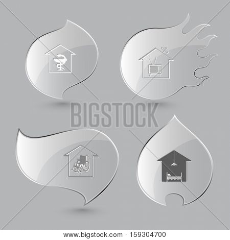 4 images: pharmacy, tv, nursing home, hotel. Home set. Glass buttons on gray background. Fire theme. Vector icons.